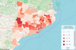 Mapa amb casos de coronavirus