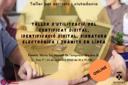 Curs certificat digital per a entitats i ciutadania